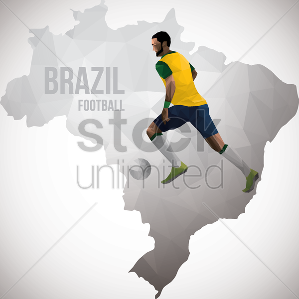 brazil map with football player vector graphic