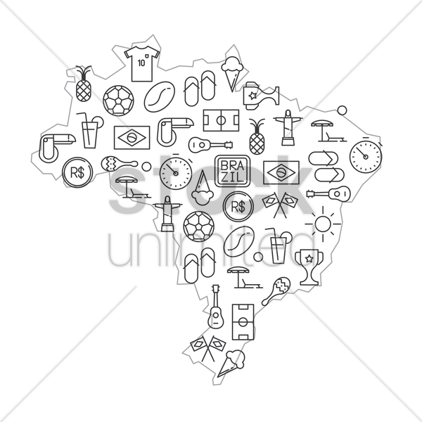 brazil map with general brazilian icons vector graphic