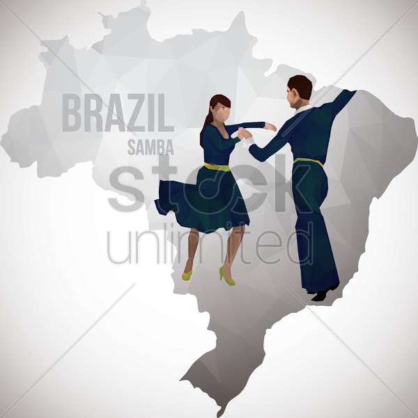 brazil map with samba dancers vector graphic