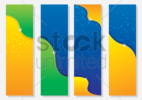 brazil theme sports competition banners vector graphic