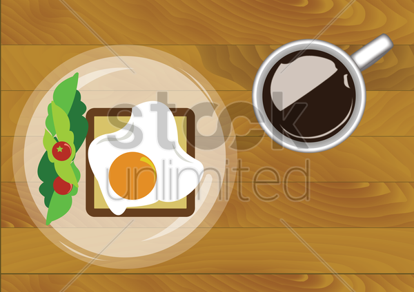 Free breakfast with fried egg and a cup of coffee vector graphic
