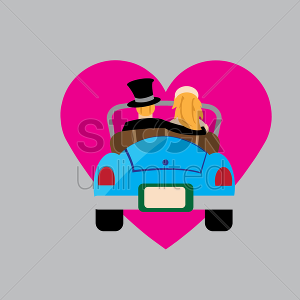 bride and groom in a car vector graphic
