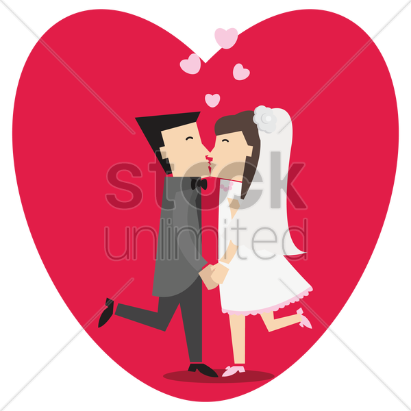 bride and groom kissing vector graphic