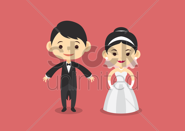 bride and groom vector graphic