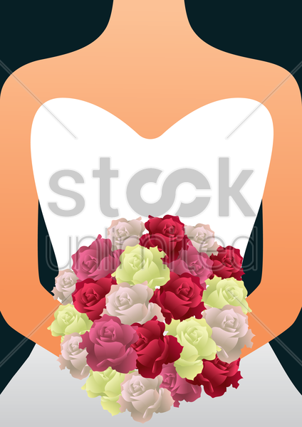 bride holding a bouquet vector graphic
