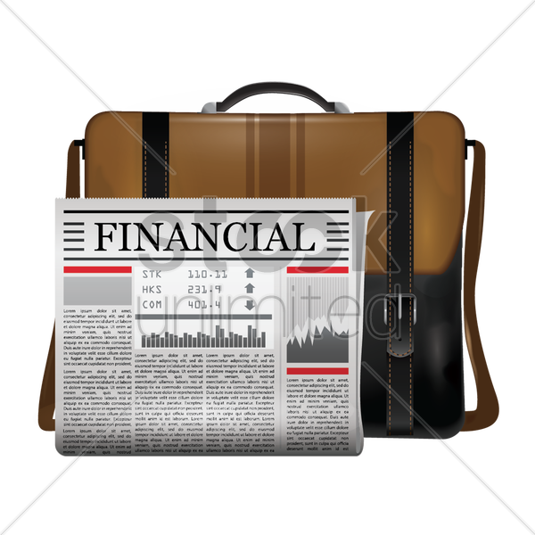briefcase and newspaper vector graphic