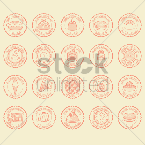 british desserts set vector graphic