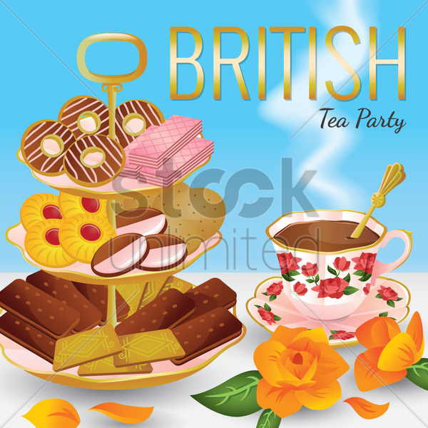 british tea party vector graphic