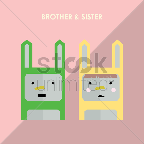 Free brother and sister vector graphic