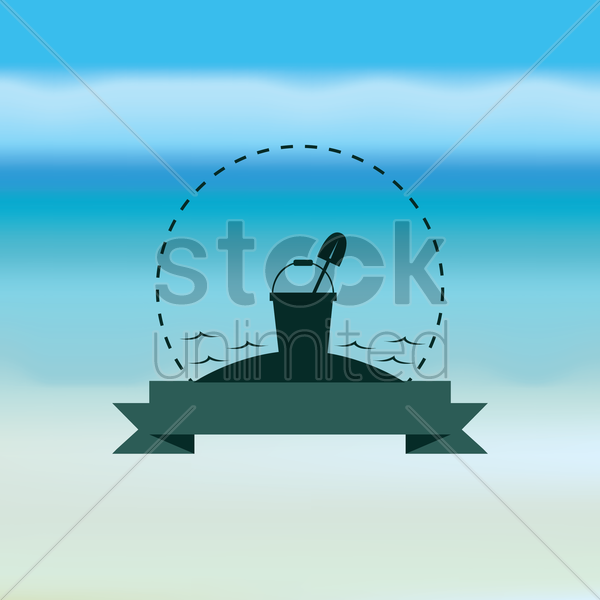 bucket and shovel with banner vector graphic
