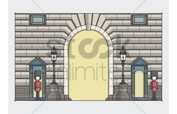 buckingham palace guards vector graphic
