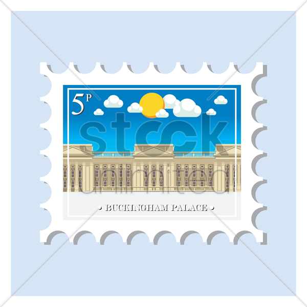 buckingham palace postage stamp vector graphic