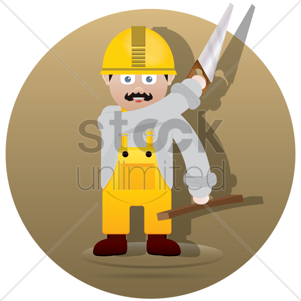 builder with saw and wood plank vector graphic