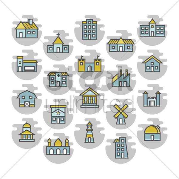 building icons vector graphic