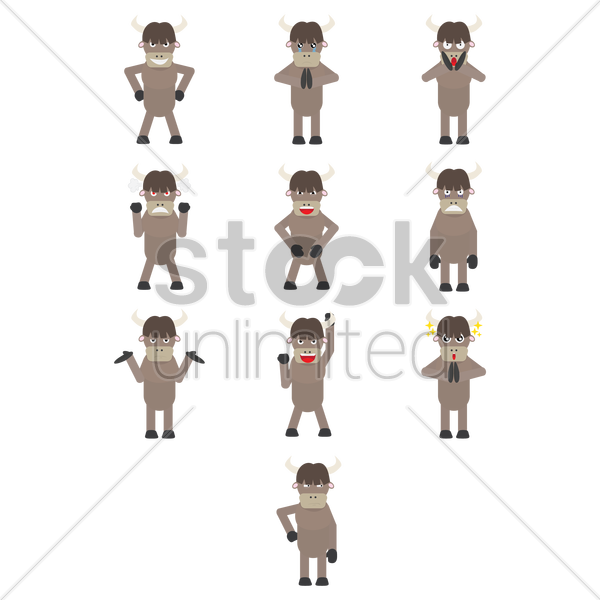 bull expressions vector graphic