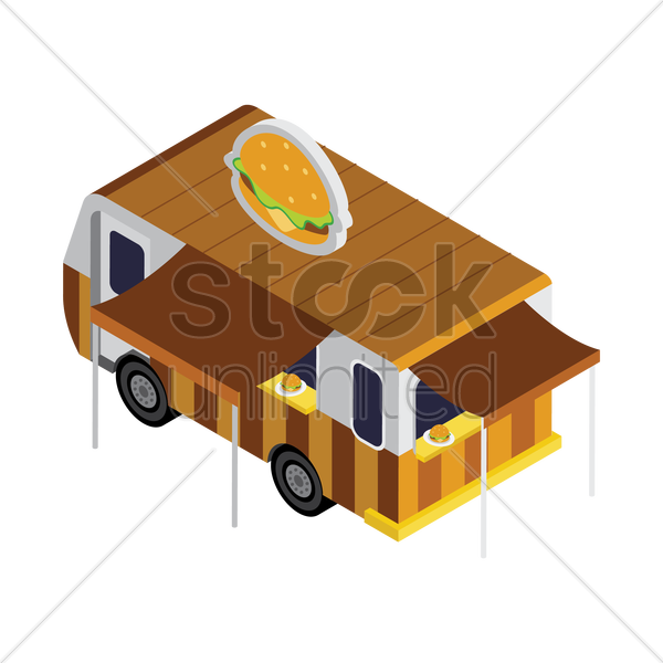 burger truck vector graphic