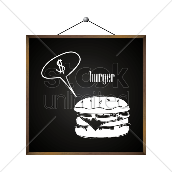 burger with dollar sign in speech bubble vector graphic