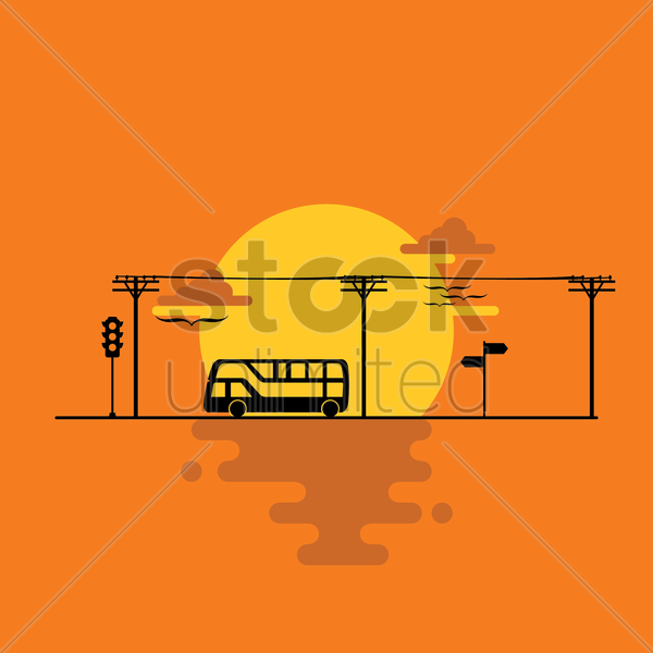 bus on the road vector graphic