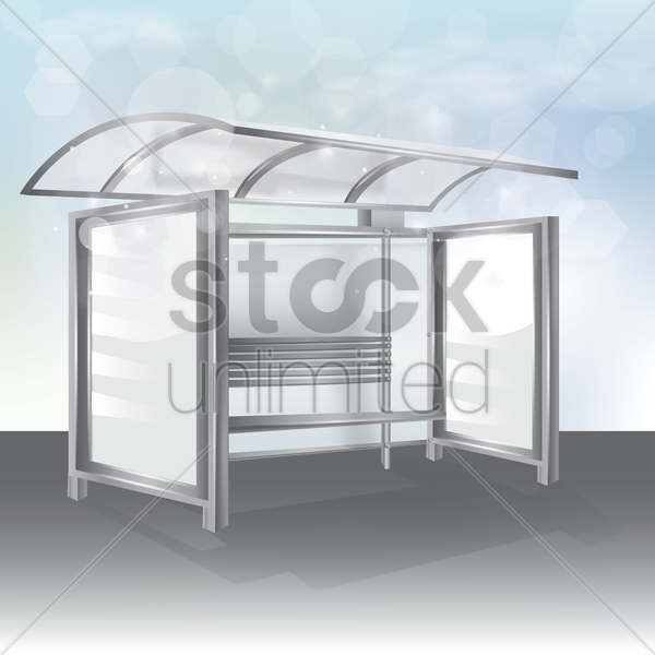 bus stop billboard vector graphic