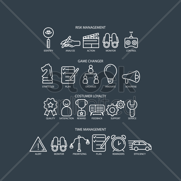 business icon collection vector graphic