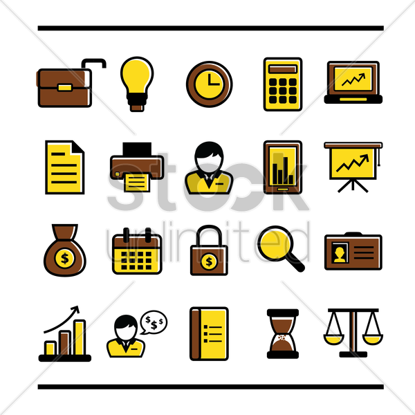 Free business icons set vector graphic