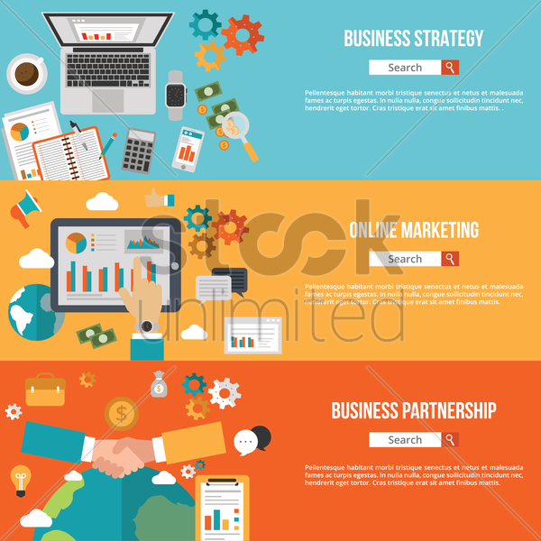 business infographic banners vector graphic
