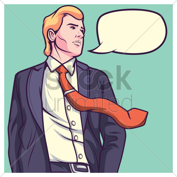 business man with speech bubble vector graphic