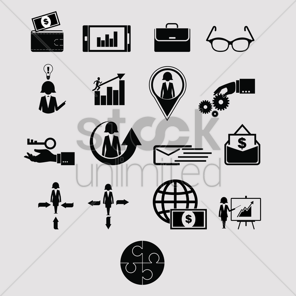 business management set vector graphic