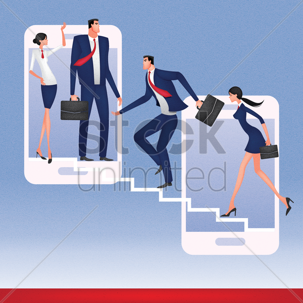 business people climbing up the smartphones vector graphic