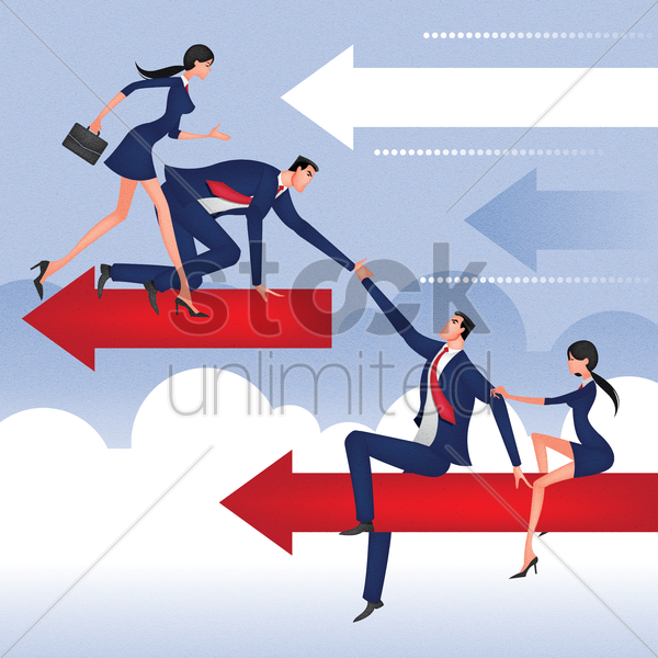 business people helping each other vector graphic