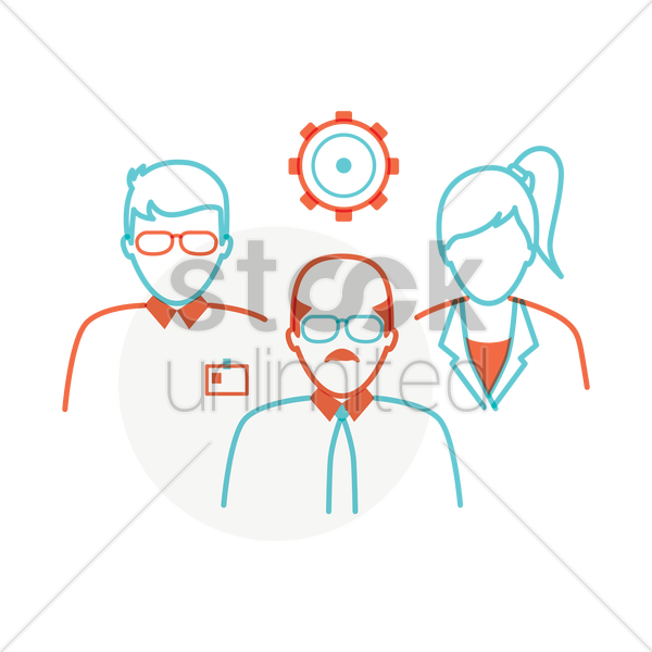 Free business people with cogwheel vector graphic