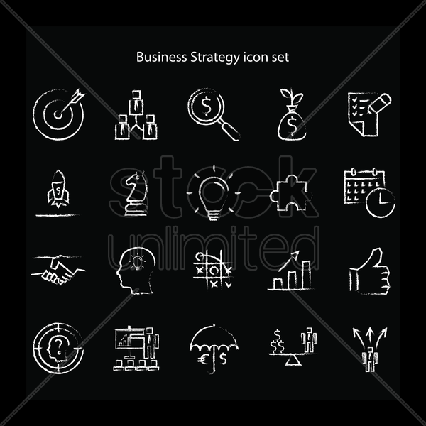 business strategy icon set vector graphic