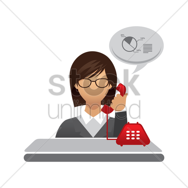 business woman on a call vector graphic