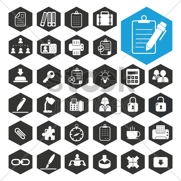 business work icon collection vector graphic