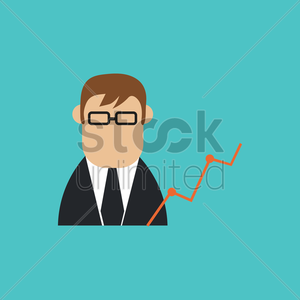 businessman and analysis vector graphic