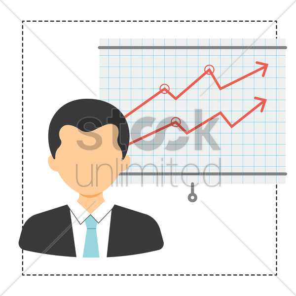 Free businessman and business analytics vector graphic