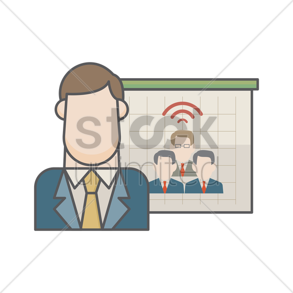 businessman and business communication vector graphic