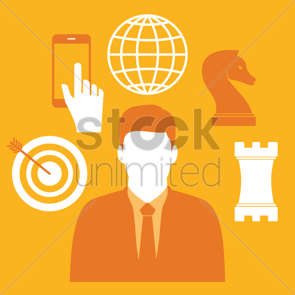 Free businessman and business icons vector graphic