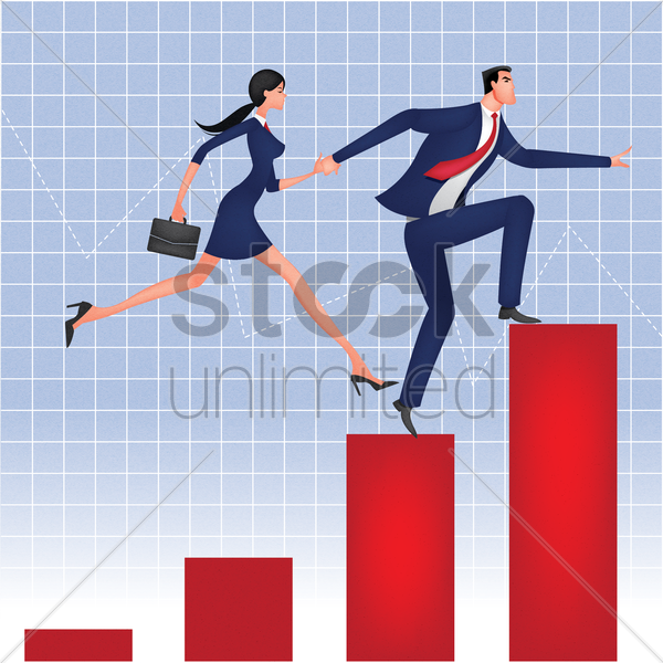 businessman and businesswoman running on bar graph vector graphic