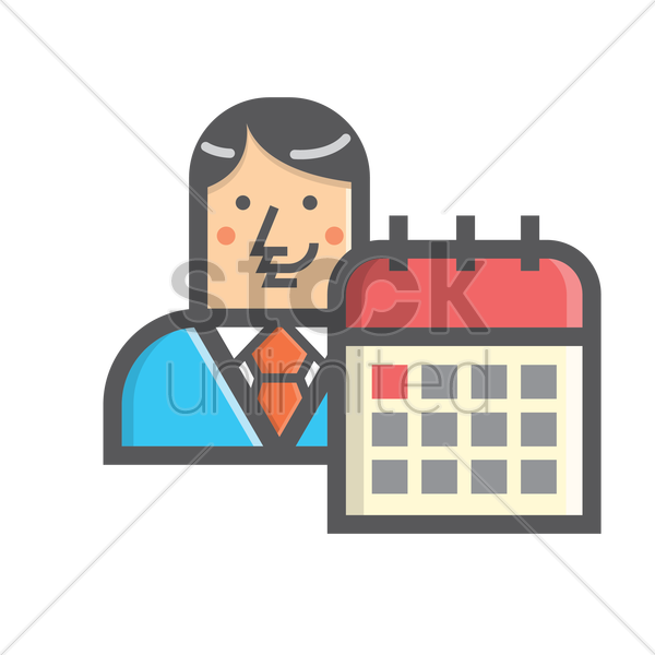 Free businessman and calendar vector graphic