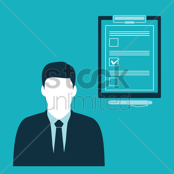 Free businessman and clipboard vector graphic