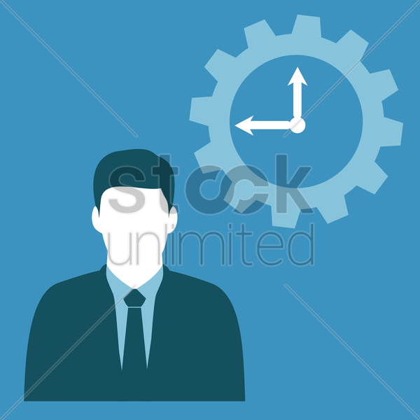 Free businessman and clock vector graphic