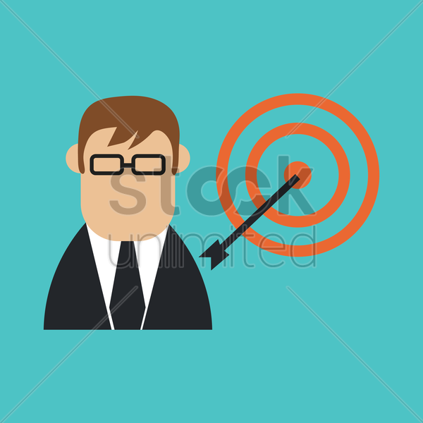 businessman and dartboard vector graphic