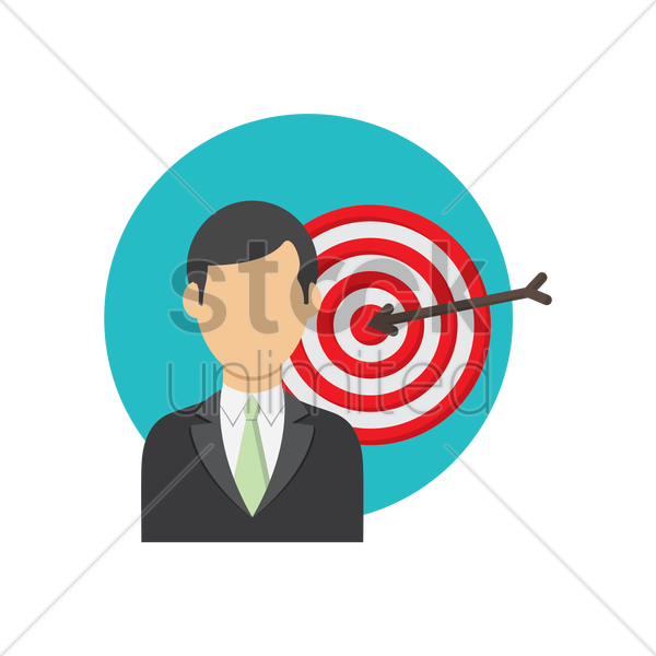 Free businessman and dartboard vector graphic