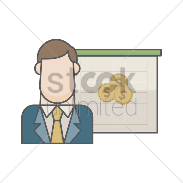businessman and dollar coins vector graphic