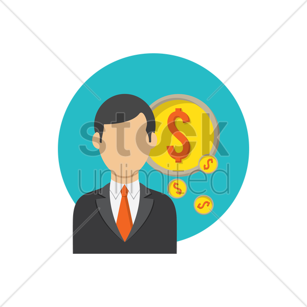 Free businessman and dollar coins vector graphic