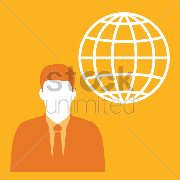 Free businessman and globe icon vector graphic