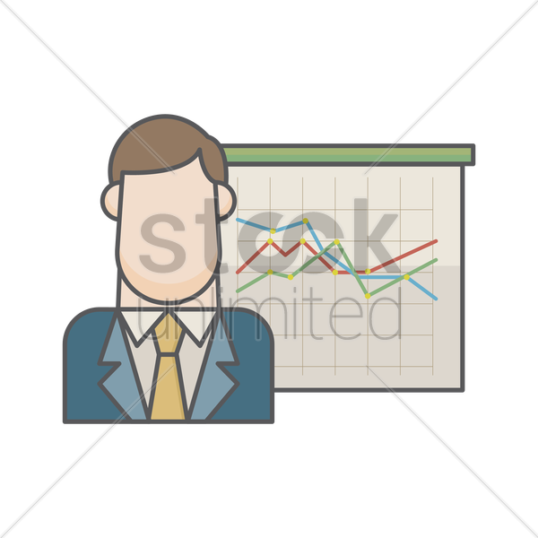 businessman and graph chart vector graphic