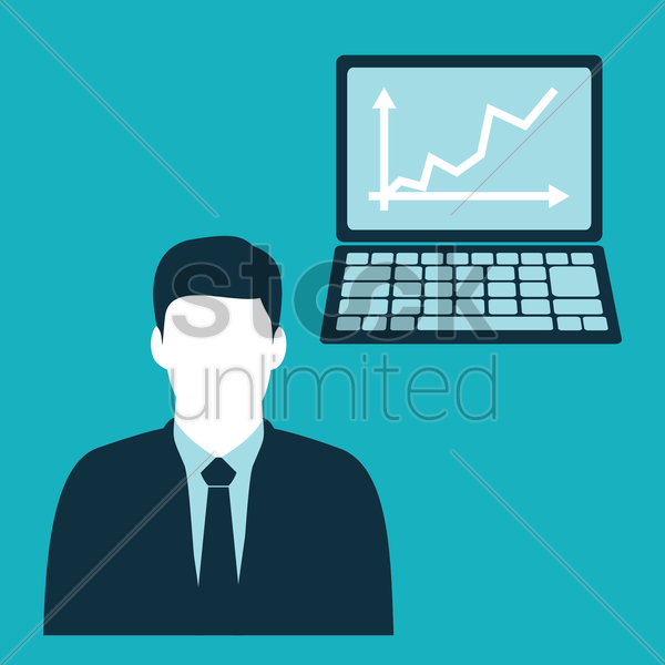 Free businessman and laptop with arrows vector graphic