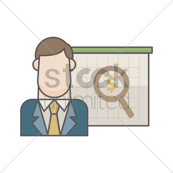businessman and magnifier with dollar vector graphic